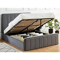 HOMIFAB Lit Coffre 160x200cm en Velours Gris Anthracite avec tête de lit + sommier à Lattes - Collection Bold