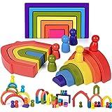 Toyssa Arc-en-Ciel en Bois Blocs de Construction Jouets Montessori en Bois Puzzle de Nidification Jeu d'Empilage Jouets Jouet