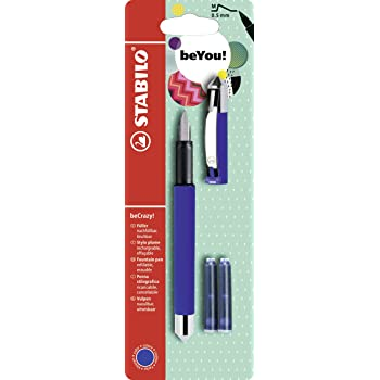 STABILO beCrazy! Rollerball Pen with 3 Blue Ink Cartridges - Blue