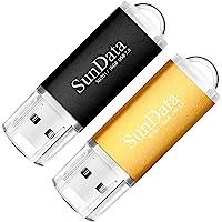 SunData Clé USB 16 Go Lot de 2 USB 2.0 Flash Drive Mémoire Stick Stockage Données Pendrive avec Lumière LED (2 Couleurs…