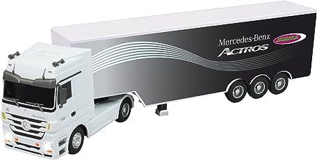 Jamara 403640 - Mercedes Actros 1:32 weiß 3 Kanal 27Mhz – RC LKW, realistischer Motorsound, automatisches Ab- und Ankuppeln, offiziell lizenziert, LED Licht, Sounds