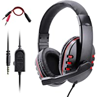 PS4 Headset, Dhaose Gaming Headset for Xbox one s 3.5mm Wired Over-head Stereo Gaming Headset Headphone with Mic Microphone, Volume Control for SONY PS4 PC Tablet Laptop Smartphone Xbox One
