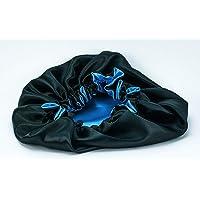 DEHMAN Pure Satin Handmade Fully Reversible Luxuries Hair Bonnet Sleep Cap for All Hair Types (Lake blue - black)