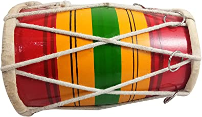 India Meets India Mango Wood Mini Dholak for Boy's and Girl's 7 Years Old (Multicolour)