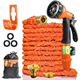 100FT Expandable Garden Hose Pipes,Flexible Expanding Hosepipes Magic Hose Tangle-Free Water Pipe with Metal Fittings/Spray G