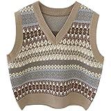 SMIMGO Suéter de punto sin mangas para mujer, clásico vintage con cuello en V chaleco de otoño casual jerseys Gilets chaleco