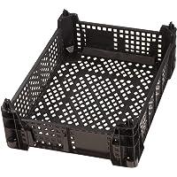 HaGa® Boîte de rangement 39,5 x 29,5 x 15 cm – Bac à fruits et légumes empilable – Caisse de transport 3 kg en noir
