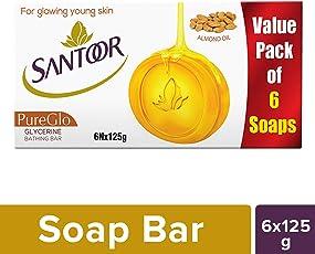 Santoor Glycerine PureGlo Soap, 125g (Pack of 6)