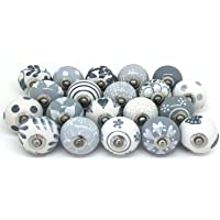 Boutons de porte en céramique style vintage shabby chic Blanc et gris Sale For - Lot of 10 Pieces