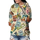 Hip-Hop Pullover Hooded Sweatshirts Sports Outwear for Women Girls Ladies