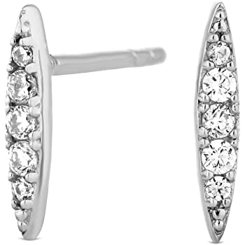 7735c58df Simply Silver Women's Sterling Silver Cubic Zirconia Pointed Stud Earring