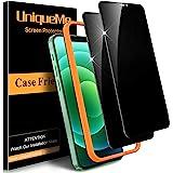 [2-pack] UniqueMe härdat glas sekretessskärmskydd kompatibel med iPhone 12 Pro Max (6,7 tum) med enkel installationsram