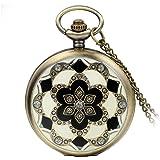Avaner - Reloj de bolsillo de cuarzo para mujer y niña con diseño retro de rosas calado
