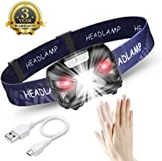 eecoo Lampada Frontale LED USB Ricaricabile 1200 mAh, Lampada Testa IPX4 8 modalità Sensore Movimento, Torcia Frontale 6000K 300lm 30h Durata Ideale per Running, Pesca, Campeggio, Trekking, Ciclismo