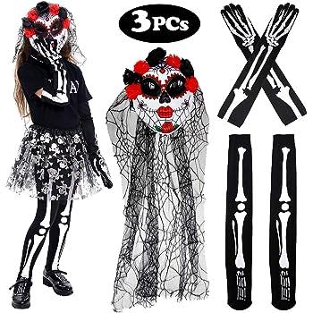 14a97f123cbd Tacobear Femme Jour des Morts Déguisement Masque à Voile Gants Squelette  Bas Squelette pour Halloween Cosplay