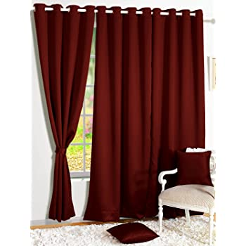 Story@Home Room Darkening Blackout Plain Faux Silk Premium Solid 2 Piece Window Curtain, 5ft, Maroon