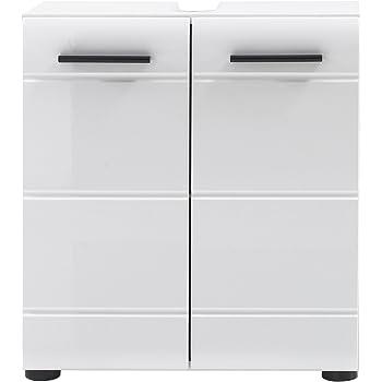 trendteam smart living Badezimmer Waschbeckenunterschrank Unterschrank Skin Gloss, 60 x 56 x 31 cm in Weiß Hochglanz mit Siphonausschnitt