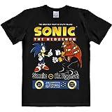 Logoshirt Nerd - Sonic The Hedgehog - Sonic vs. Dr. Eggman - Camiseta Hombre - Negro - Diseño Original con Licencia