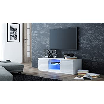 Mmt White Tv Cabinet With Led Blue Lights For 32 Inch Amazon Co