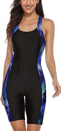 CharmLeaks Womens Boyleg One Piece Swimsuit Athletic Swimwear Lap Bathing Suit