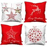 Indigifts Merry Christmas Soft Poly Satin Cushion Cover (16x16-inch) -Set of 4