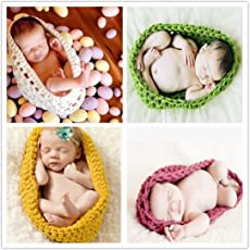 BabyMoon Knitted Pods Cocoon Photography Props, Swaddle Wraps Blanket (Emerald Green)