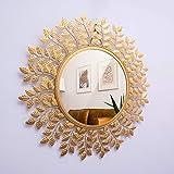 Furnish Craft Beautiful Leaf Round Wall Mirror (24 x 24 inch, Gold)