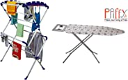 Paffy Sumo Clothes Drying Stand Large (White & Blue) with Foldable Ironing Board/Ironing Table with Iron Holder - Grey Combo