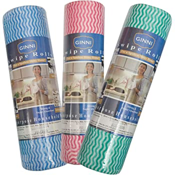 Ginni 6 Ginni Non Woven Fabric Roll- Kitchen Swipe Rolls (Multi-Purpose House Holding Sheets)- Pack 0F 3 (50 Dry Sheets Per Pack)