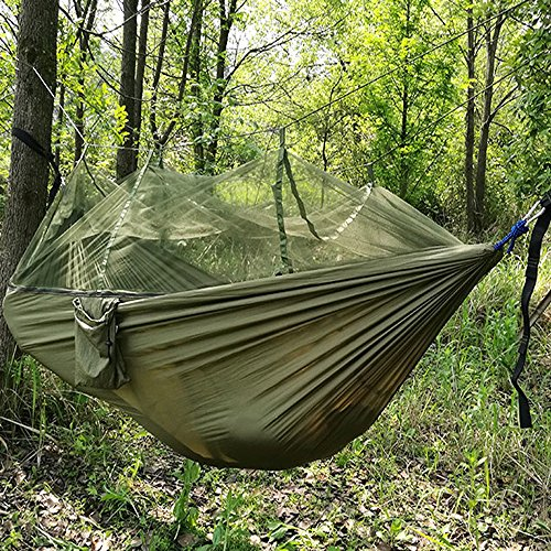 Umsky 2 person jungle hammock with mosquito net portable for Net hammock bed