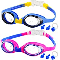 Kids Swimming Goggles, 2-Pack kids Goggles for Swim, Anti-fog, Waterproof, NO Leaking and UV Resist, Quick-Adjustable…