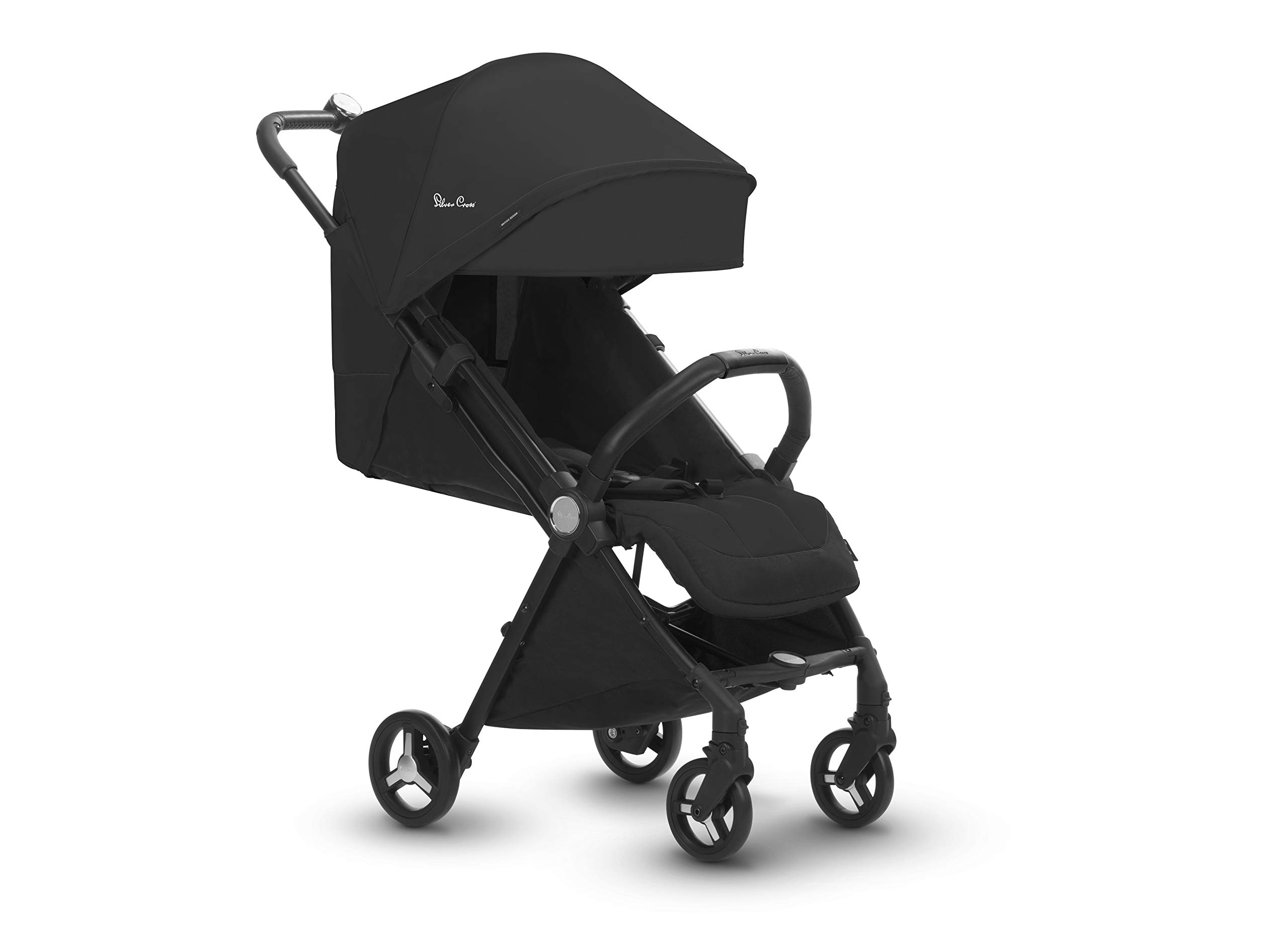 Silver Cross Jet Stroller, Ebony Silver Cross Ultra compact and light travel stroller Cabin approved. Folded Dimensions- 18 cm D x 30 cm W x 55 H cm Suitable from birth 3