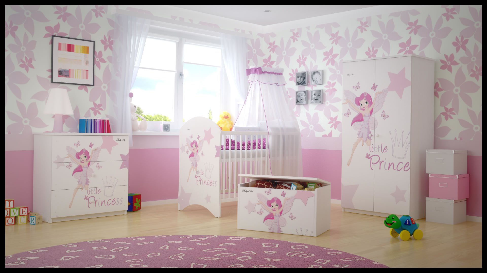 5 PCS BABY NURSERY FURNITURE SET - COT + MATTRESS + WARDROBE + CHEST OF DRAWERS + TOY BOX (model 16)  Included: cot + mattress + wardrobe + chest of drawers + toy box Material: wood GREAT QUALITY 1
