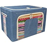 LXOICE® Linen Fabric Foldable Cloth Storage Boxes Organizer for Wardrobe - 66 Liter Pack of 1 (Cowdy Blue)