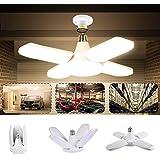 Éclairage Garage, LACYIE 80W 8000LM Led Garage E27 E26 Lampe Atelier Déformable à 4 Panneaux Ajustables Super Brillant Plafon