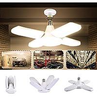 Éclairage Garage, LACYIE 80W 8000LM Led Garage E27 E26 Lampe Atelier Déformable à 4 Panneaux Ajustables Super Brillant…