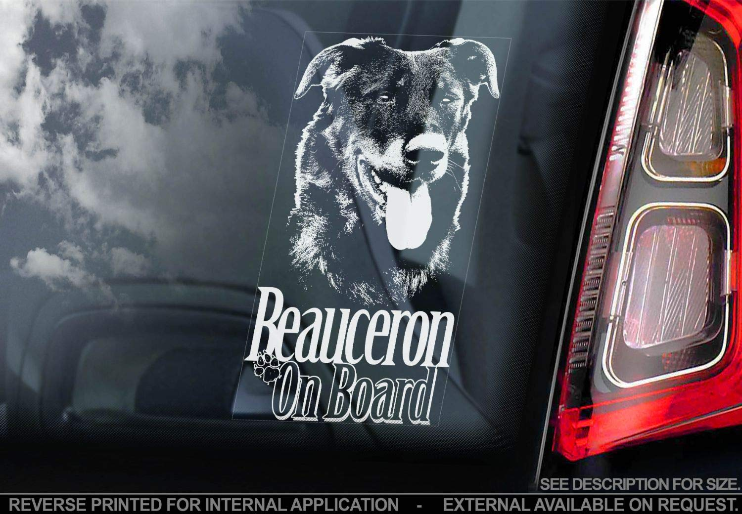 Beauceron – Car Window Sticker – Dog Sign Bumper Decal Gift – V01