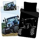 Parure de lit Tracteur 100% Coton - Housse de Couette Réversible 140x200 cm + Taie 65x65 cm, Brille dans Le Noir