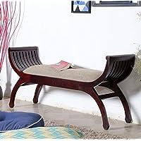 SamDecors sheesham Wood Two Seater Sofa Senate Dark Brown (Lacquer Finish) (Walnut Colour)