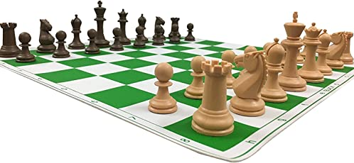 Chessncrafts Roll-up Tournament Chess Board Game Set with Exclusive Design Staunton Chess Pieces, 17x17-inch, CNC-PL-NEW1