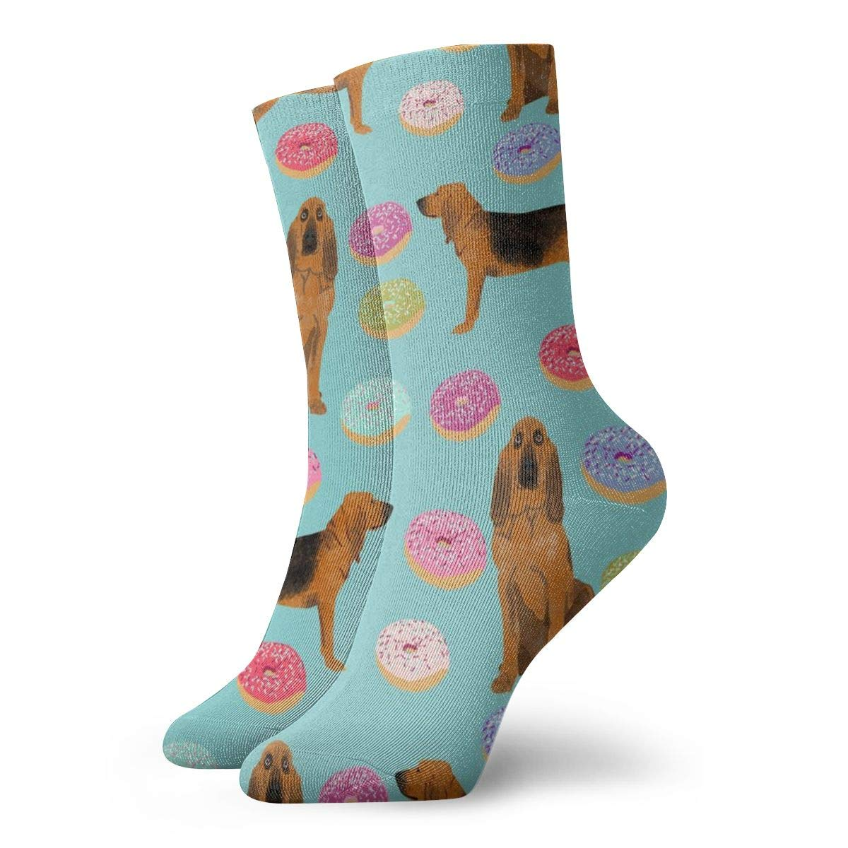 Bloodhound Dog Donuts Dog Donuts Bloodhound Dog Dog Pet Light Blue Men Women Thin High Ankle Cotton Moisture Wicking Casual Crew Socks 11.8 inch/30 cm