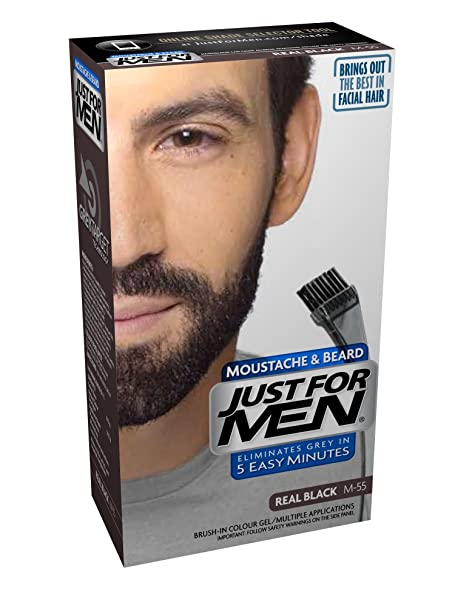 Just For Men M45 Moustache and Beard Facial Hair Color Dark Brown ...