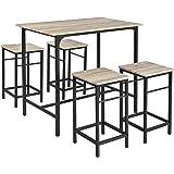 SoBuy OGT11-N Set de 1 Table + 4 Tabourets Ensemble Table de Bar Bistrot + 4 Tabourets avec Repose-pieds Table Haute Cuisine