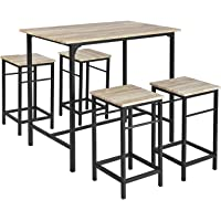 SoBuy OGT11-N Set de 1 Table + 4 Tabourets Ensemble Table de Bar Bistrot + 4 Tabourets avec Repose-pieds Table Haute…