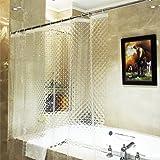 ecooe Douchegordijnen 3D waterkubus douchegordijn transparant 100% Eva-materiaal waterdicht anti-schimmel, 180 x 200 cm met 1