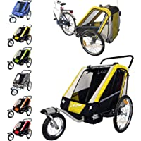 Papilioshop LEON Bike trailer & stroller for 1 or 2 childrens kids baby buggy jogger (Yellow)