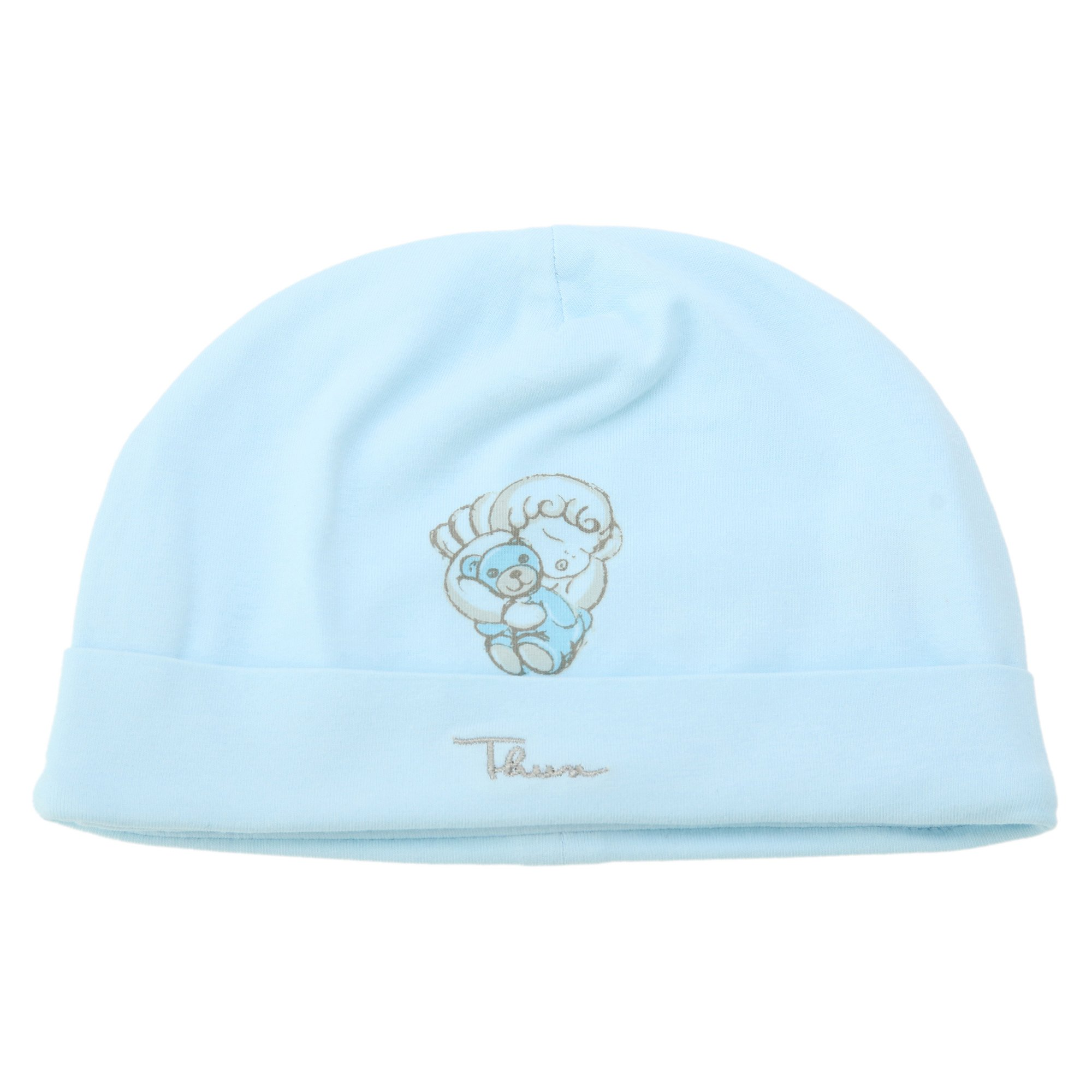 Thun Angel Berretto, 95% Cotone, 5% Elastan, Blu Soft, 6 mesi-62 cm