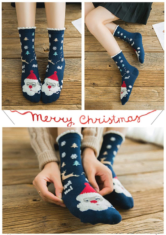 LIKERAINY Christmas Ragazze Donna Calzini Cotone di Natale Caldo Inverno Confortevole Babbo Natale e Alce 5 Paia 4 spesavip