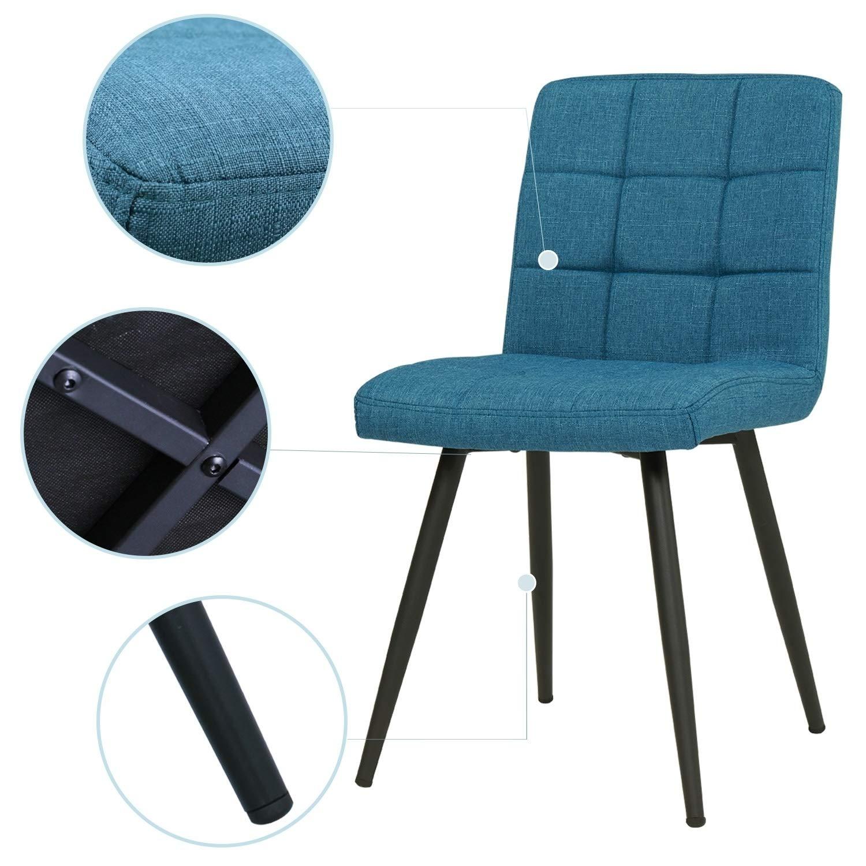 Duhome 2er Set Esszimmerstuhl aus Stoff Samt Creme Beige Farbauswahl Stuhl Retro Design Polsterstuhl mit Rückenlehne Metallbeine 8043B 3