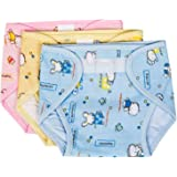 PEUBUD ® Outside Printed Soft Cotton Inside Non-Toxic PVC Plastic Waterproof U Nappy/Diaper/Langot with 0-4 Months(Pack of 3)